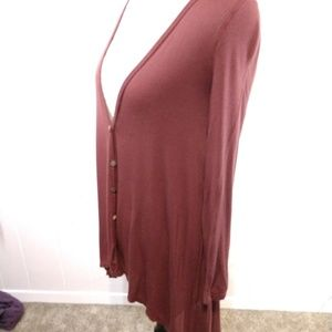 Wine Red Light Weight High-Low Cardigan